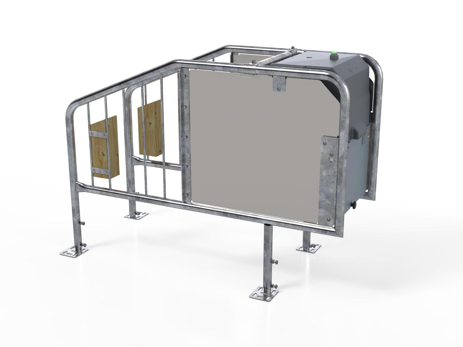 Auf diesem Bild ist die HeavyDuty-Variante der HygieneStation zu sehen, die für die kräftigeren Mastkälber nutzbar ist.