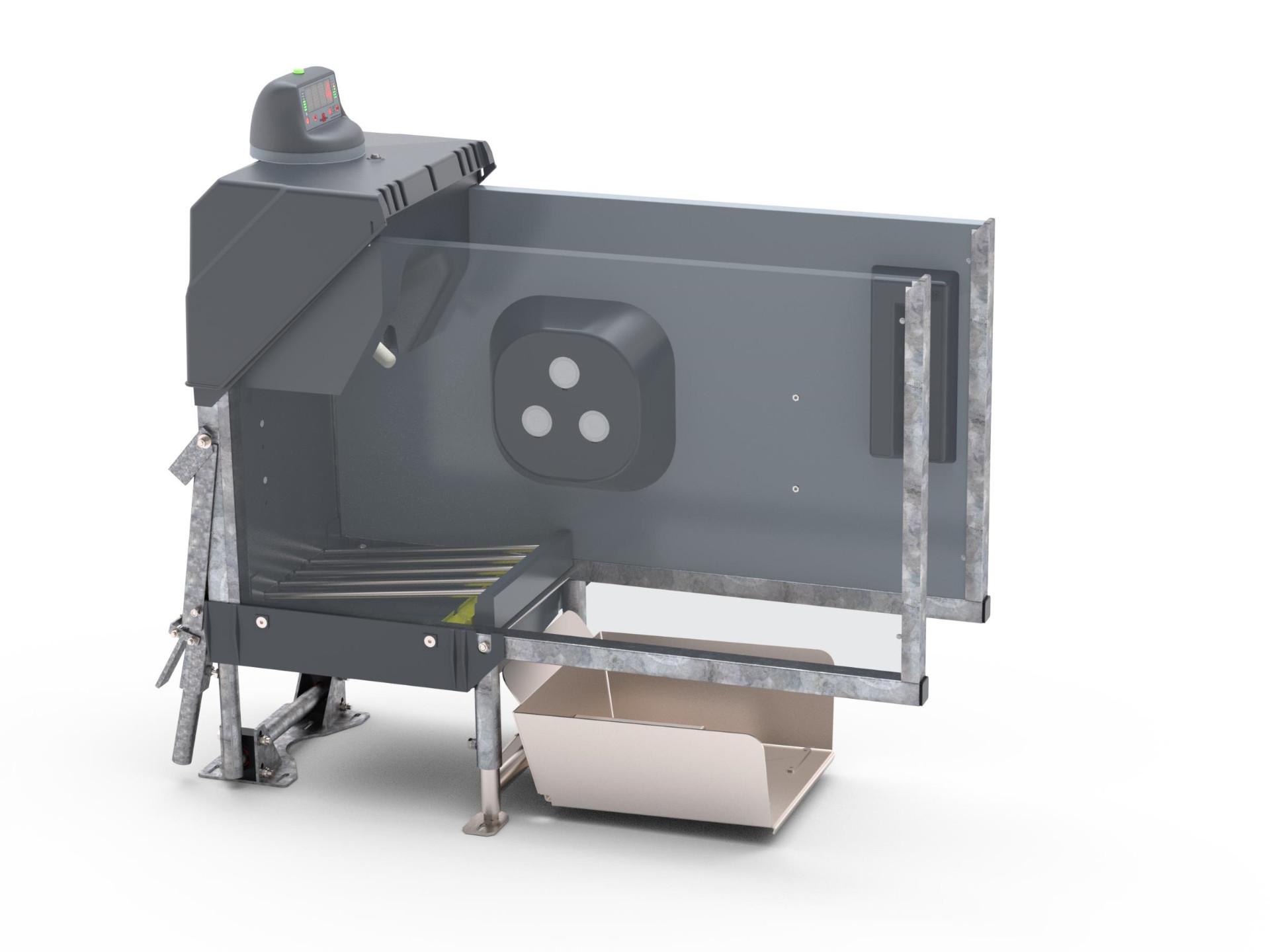Dieses Bild zeigt die HygieneStation mit Display und Tierwaage. Durch die transparent dargestellte Seitenwand sind die Speichelwanne und die RFID-Antenne zu erkennen.